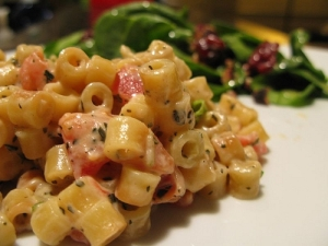 """Photo: Flickr """"macaroni with tomatoes, brie and basil"""